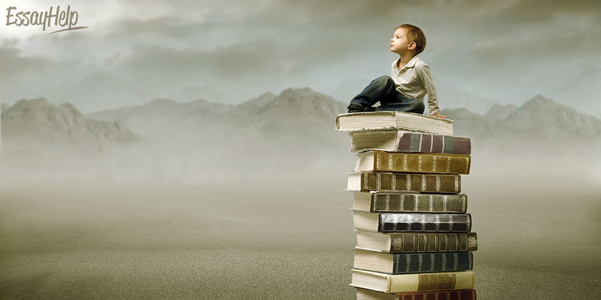 Student Climbing a Mountain of Books